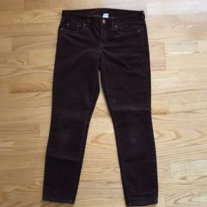 J. Crew Cords Sz 28 Ankle Brown 90's